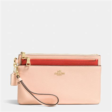 couch wristlet coach large wristlet with pop up pouch in colorblock