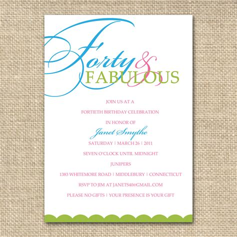 40th birthday invitation templates 40th birthday invitation forty and fabulous by