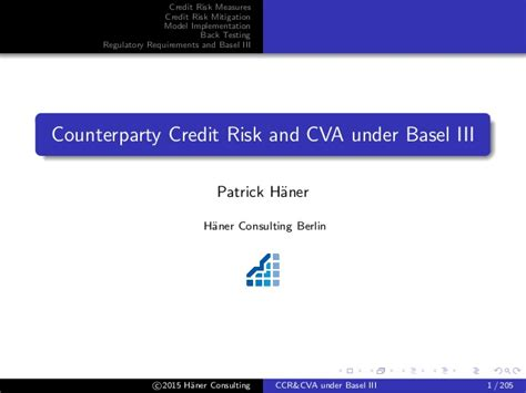 Counterparty Credit Risk Formula counterparty credit risk and cva basel iii