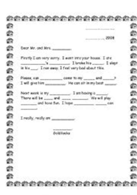 Apology Letter Template For Elementary Students Letter From Goldilocks To Apologize Herself