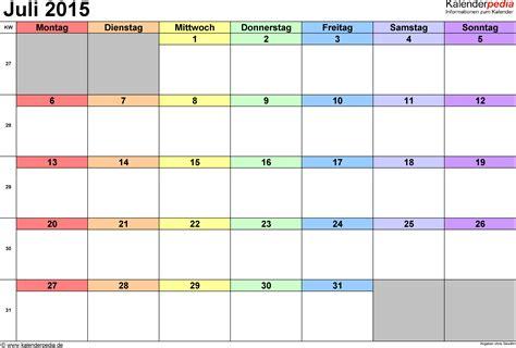 Word Vorlage Jahreskalender 2015 kalender juli 2015 als word vorlagen