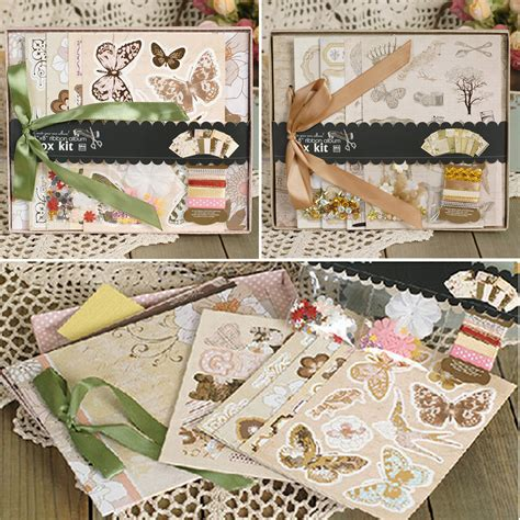 Make Your Own Scrapbook Paper - 8 paper gift diy photo album kit with ribbon bow create