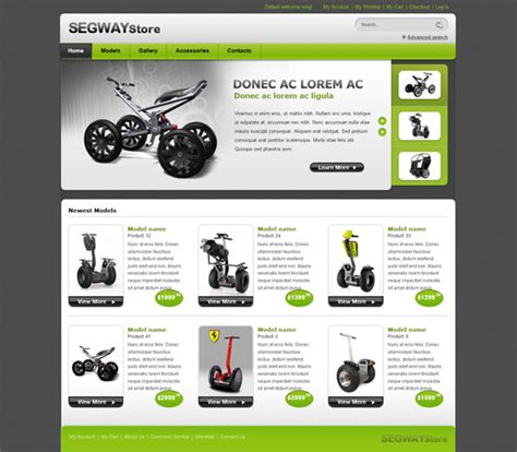 segway store ecommerce website css template website