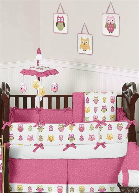Owl Themed Crib Bedding Happy Pink Owl Crib Bedding By Sweet Jojo Designs