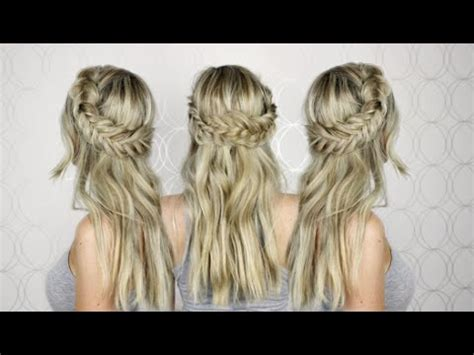half up half down wedding hairstyles youtube how to half up half down hair tutorial prom wedding