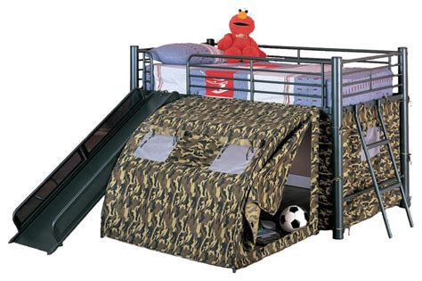 Camo Bunk Beds Boys Play Lofted Bunk Bed With Slide Camouflage Tent Black Metal Frame Modern