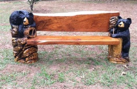 bear bench beautiful chainsaw carved carving bench black bear rustic