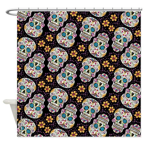 day of the dead curtains day of the dead sugar skull black shower curtain by admin
