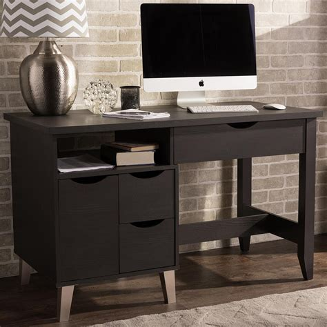 dark wood modern desk baxton studio mckenzie contemporary dark brown finished