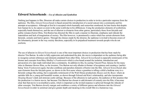 Edward Essays by Essay On Edward Scissorhands Edward Scissorhands Essay Conclusion Essay On Edward Scissorhands