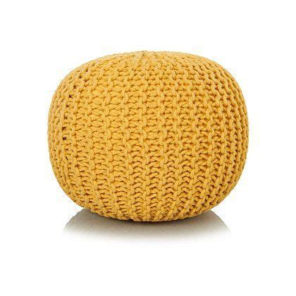 George Home Yellow Knitted Pouffe   Footstools & Pouffes