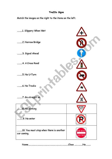 Traffic Signs Worksheets For Kindergarten