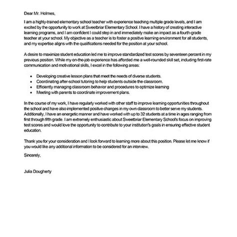 cover letters for new teachers best sle cover letter letter format writing