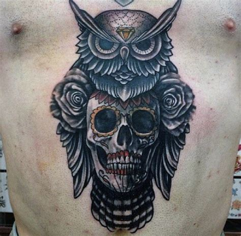 owl and skull tattoo 70 owl tattoos for creature of the designs