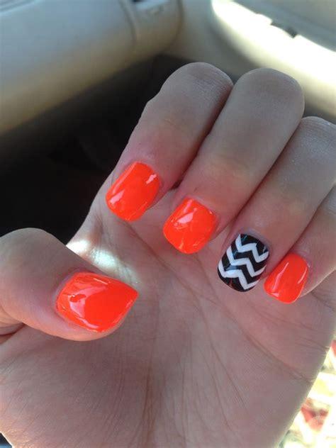 Orange Pattern Nails   chevron nails orange nails nail design nails
