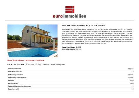 haus verk krk kroatien immobilien neues steinhaus mit pool und