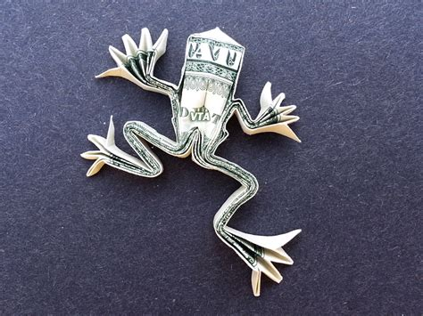 tree frog money origami dollar bill vincent the artist