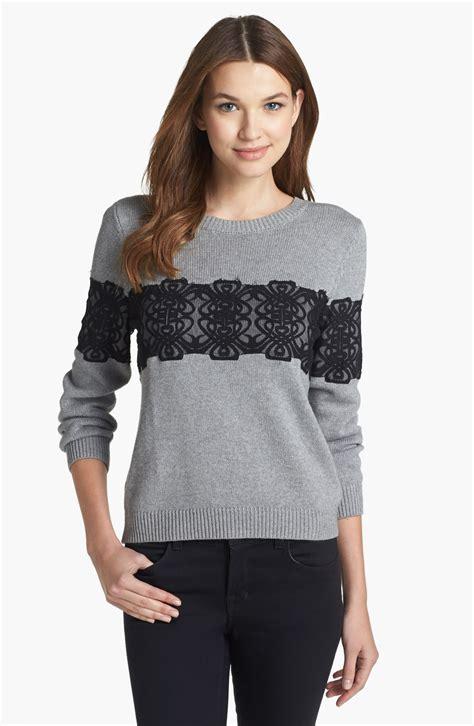 Embellished Sweater roy embellished sweater in black light grey black
