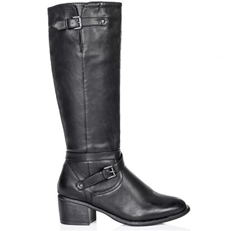 buy ancona block heel buckle zip knee high boots black