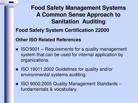 Mba In Food Safety And Quality Management In India by Ppt Food Safety Management Systems A Common Sense