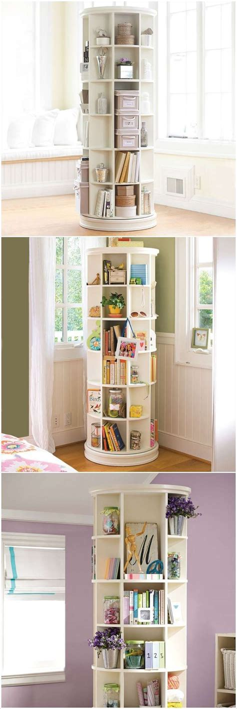space saving storage ideas bedroom a revolving bookcase loaded with storage space plus more