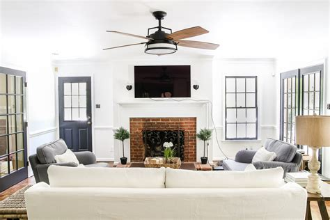modern farmhouse ceiling fan living room update ceiling fan swap bless er house