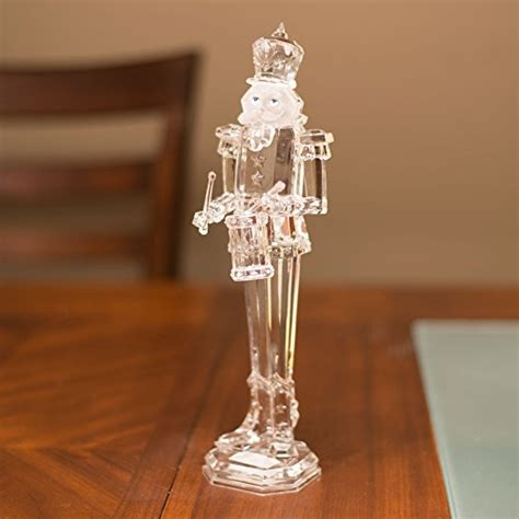 clear acrylic decorative nutcracker playing drum stands