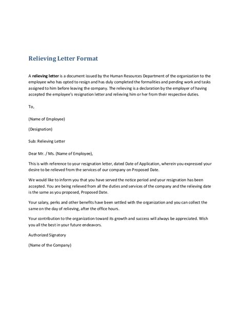 Release Letter Format For Employee relieving letter format