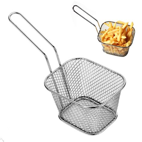 Chef Basket Kitchen Tools 1p stainless steel chips mini frying basket strainer fryer kitchen cooking chef basket colander