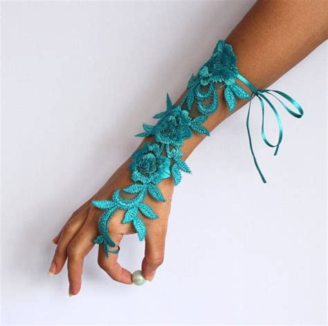 Handmade Wrist Corsage - bridal wrist corsage in pool blue turquoise applique lace
