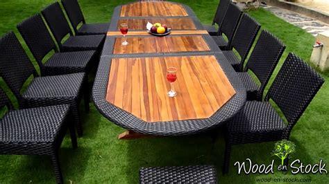 salon de jardin ensemble table teck resine  chaises resine tressee youtube