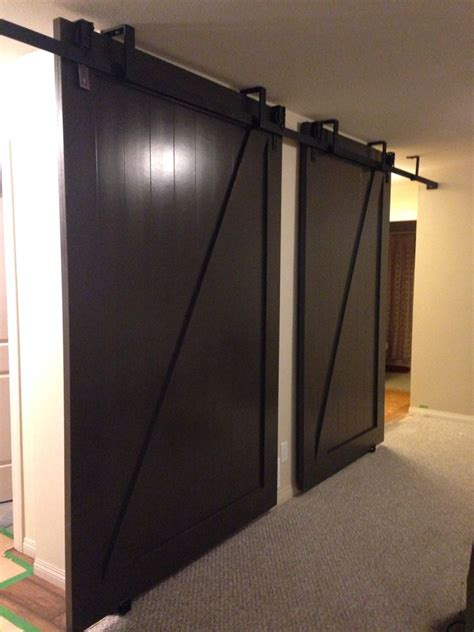 midnight brown solid colour  bi parting doors hung