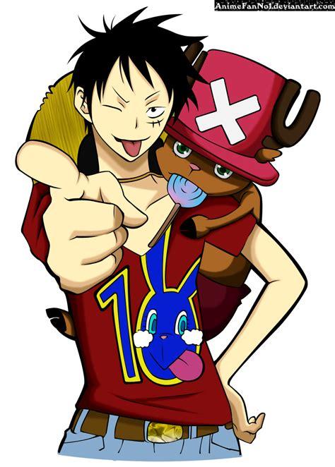 Kaos One Luffy Chooper luffy and chopper by animefanno1 on deviantart