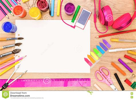best drawing tools girly tabletop with drawing tools stock photo image