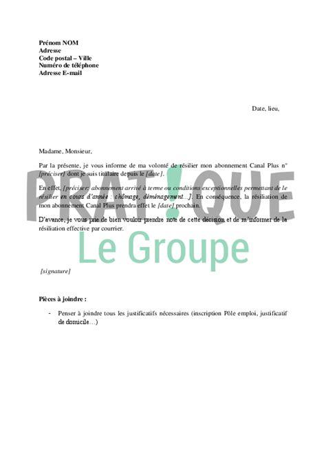 Resiliation Lettre Canal Plus lettre de r 233 siliation d abonnement canal plus pratique fr