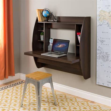 espresso floating desk with storage