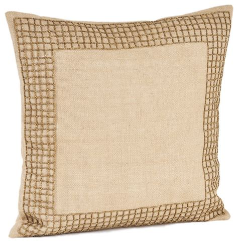 Filled Throw Pillows by Beaded Design Burlap Filled Throw Pillow