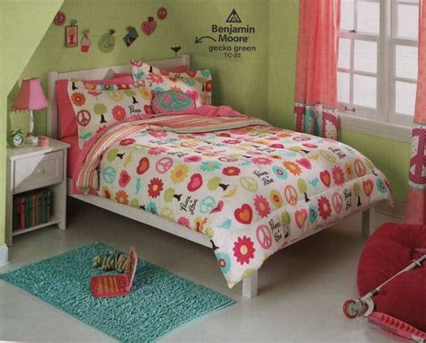 new bed in a bag set peace girls twin full 5 7 piece set