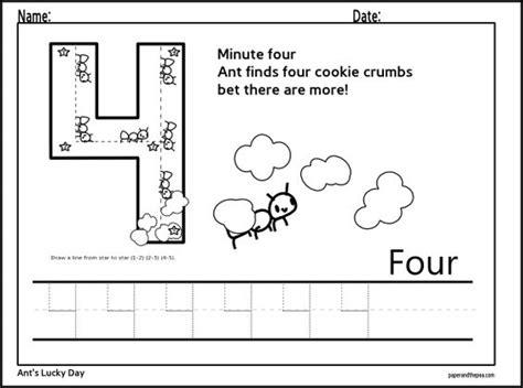 printable tracing number 4 number four tracing worksheet math concepts pinterest