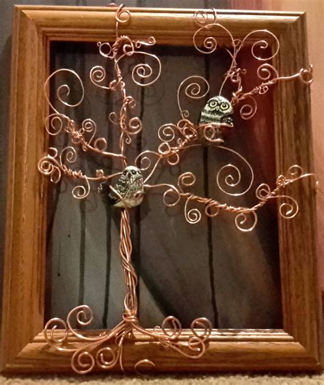 copper wire tree  owls