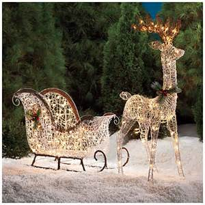 Lighted Outdoor Deer For Decorations White Vine Deer 2 Sleigh Set Big Lots