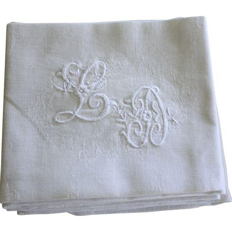 monogrammed linen napkins set of 12 antique french linen napkins monogrammed l d