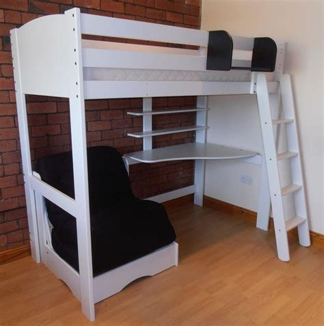 High Sleeper With Desk And Futon with Details About High Sleeper Bed With Futon Desk And Shelves White With Futon In 5 Colours