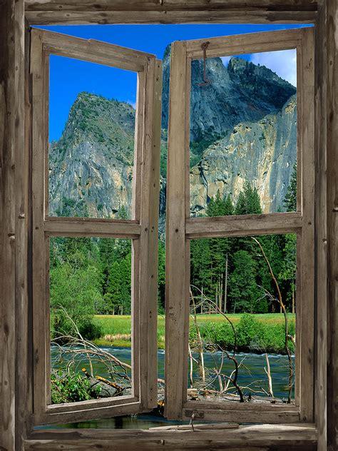 wall mural window mountain cabin window mural 3