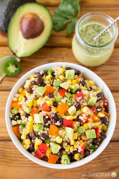 mexican quinoa salad with black beans and shape magazine mexican quinoa salad cooking on the front burner