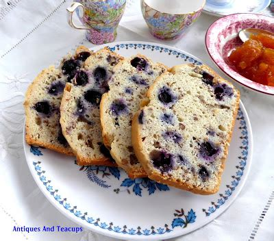 antiques and teacups: blueberry tea bread and shelley