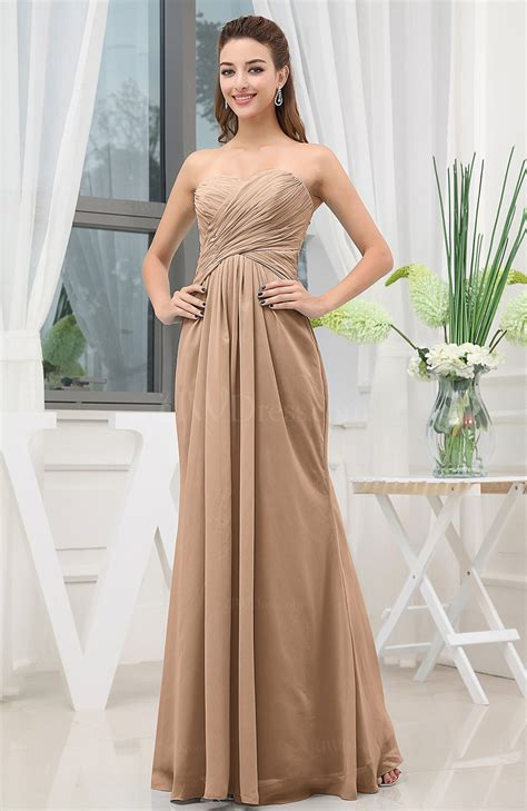 Brown Bridal by Light Brown Simple Sweetheart Sleeveless Zipper Floor