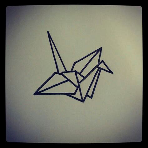 Origami Bird Drawing - origami bird sketch by ranz