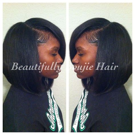 weave no leave out hairstyle brazillian trad sew in small leave out slight bob sewin styles