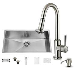 all metal kitchen faucet vigo all in one undermount stainless steel 32 in 0 hole